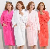 Algodão relativo à promoção do hotel/a Home/flanela/Bathrobes corais da mulher/pares do velo/pijamas/Nightwear