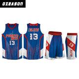 顧客用運動バスケットボールの均一青いバスケットボールのワイシャツデザイン(BK038)