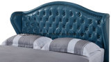 Moderner hoher Headboard-volles ledernes Bett mit Stahlbein-Ausgangsmöbeln