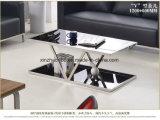 Tavolino da salotto francese industriale del metallo dell'oro di stile con vetro nero