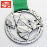 Medalha barata do esporte da concessão do chapeamento niquelar do número do metal do costume 3D