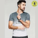 Les plus défuntes chemises 100% d'été de coton d'OEM de modèle de vente en gros pour les hommes court- le T-shirt de chemise