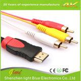 3 RCA 남성 합성 개심자 AV 케이블에 금에 의하여 도금되는 HDMI 남성