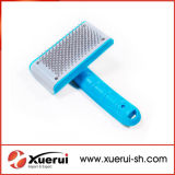 Cepillo plástico de la preparación del animal doméstico con los contactos del acero inoxidable