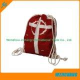綿のドローストリングのバックパック袋の外の方法多色刷りシリーズ