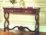居間の家具、木の家具によって切り分けられるコンソールテーブル