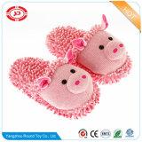 견면 벨벳 돼지 부드러움에 의하여 채워지는 분홍색 Anti-Slip 실내 슬리퍼