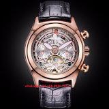 Speciaal het Ontwerpen Mechanisch Horloge voor Mensen met de Band Fs447 van het Leer Gunine