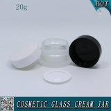 vaso cosmetico della crema di vetro glassato 20ml con i coperchi di plastica