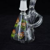 Tubulação de água de fumo de vidro do único Hourglass à mão do braço Hv-014 com os retratos de 4 pessoas