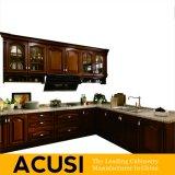 De in het groot Amerikaanse Antieke L-vormige Stevige Houten Keukenkasten van de Stijl (ACS2-W02)