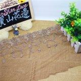 Merletto netto di nylon della maglia di immaginazione della guarnizione del ricamo del poliestere del merletto del commercio all'ingrosso 25cm della fabbrica del ricamo di riserva di larghezza per le tessile & le tende accessorie del &Home degli indumenti