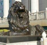 Jardin extérieur assis en laiton Lions statue en bronze sculptures animales