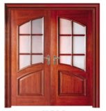 入口のための倍の葉が付いているガラス木のドア