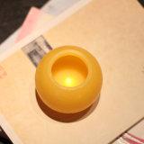 Amarilla redonda sin llama LED de luz del té vela electrónica