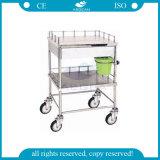 Chariot matériel approuvé à équipement médical d'acier inoxydable d'OIN de la CE AG-Ss046