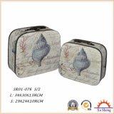 Bolso de madera de los muebles caseros con el rectángulo de almacenaje marina de la impresión del modelo y el rectángulo de regalo