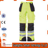 Le travail r3fléchissant jaune de sûreté halète le pantalon élevé de vêtements de travail de visibilité
