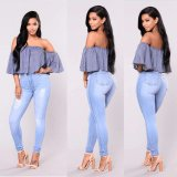 Crowdordering faible MOQ Light blue jeans skinny Mesdames