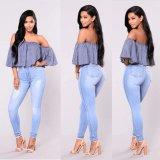Jeans scarni blu-chiaro bassi delle signore di Crowdordering MOQ