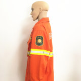 Vêtements de travail ignifuges de polyester de tissu fonctionnel ignifuge avec la bande r3fléchissante