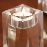 Candelabro de vela de cristal simples para decoração de casamento