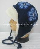 Мода зимы Earflap вязания Red Hat поддельные мех (Hjb026)
