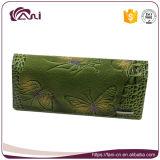 De Recentste Douane Afgedrukte Portefeuilles van Fani met In reliëf gemaakte Vlinder, de Echte Portefeuille van de Vrouwen van het Leer