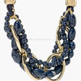 Collier de corde noire de Bohème pour femmes Collier et bijoux en béton à main résistant à la main