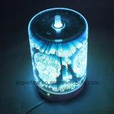 LED de névoa fria Luminary saudável difusor com tampa de vidro em 3D para o Dia das Bruxas