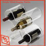 Cremagliera acrilica libera dell'organizzatore della bottiglia di vino per visualizzazione