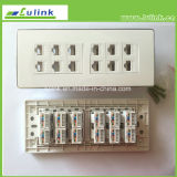 195*70mm, 12ports RJ45 CAT6 Faceplate/Wall Plate met CAT6 Module