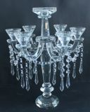 Suporte para velas de cristal com sete pôsteres para decoração de casamento