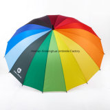 16 Rippen-Regenbogen-großer Golf-Regenschirm mit kundenspezifischen Firmenzeichen (GOL-1627R)
