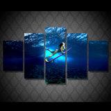 [هد] طبع بنت تزلّج على الماء صورة زيتيّة على نوع خيش غرفة زخرفة طبق ملصقة صورة نوع خيش [مك-141]