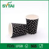 Tazza di carta stampata stella nera della bevanda di alta qualità della parete del tè caldo a gettare del caffè