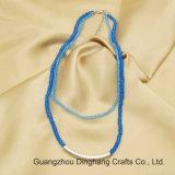 De Juwelen van de manier Twee Lagen van de Blauwe Plastic Halsband van het Buizenstelsel van de Ketting van Parels Aqumarine&Capri Rhodium Geplateerde Gebogen