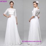 A - Zeile zweiteilige Ausschnitt-Fußboden-Längen-Chiffon- Spitze-Hochzeits-Kleid-Brautkleid