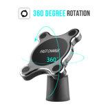 360 de alta calidad de grado 2 en 1 Qi Wireless cargador de coche con soporte magnético, Soporte de coche cargador inalámbrico