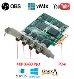 Quad Channel 3G-SDI PRO Enregistreur vidéo conférence/ Monitor Card PCI-E Carte de capture Live Switcher HDMI // enregistreur de carte de capture vidéo SDI Service Dropshiiping