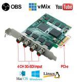 クォードチャネル4 CHの入力3GSDIプロビデオ会議のレコーダーのモニタカードPCI-Eは完全なHDのビデオ捕獲記録カードスイッチャのキャプチャカード/HDMI/SDI住んでいる