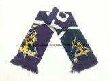 OEMによってカスタマイズされるアクリルの編まれたフットボールのサッカーファンのチームスカーフの製造業者