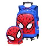 Venda por grosso de desenhos animados para crianças da escola com rodas Spiderman Bag Sacos Trolley