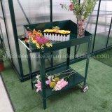 Flores Two-Wheels envasamento de bancada, Porcas e Parafusos de aço inoxidável Aço Versátil Pot Tabela de estadiamento de bancada
