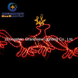 560cm LEDサンタRiding 4 Reindeer Sleigh Christmas Motif Rope Lights