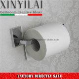 Soporte de rollo de papel higiénico de latón sólido con diseño rectangular