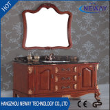 Suelo antiguo del diseño que coloca vanidad del fregadero del cuarto de baño de madera sólida