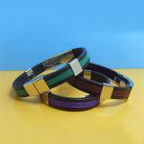 Réglable en acier inoxydable Bracelets en caoutchouc de silicone