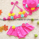 Цветки девушки напечатали костюм заплывания вспомогательного оборудования, шнурок симпатичное Бикини плавая износ