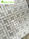 Azulejo de mosaico de mármol verde mezclado blanco del Pinwheel de Thassos Ming
